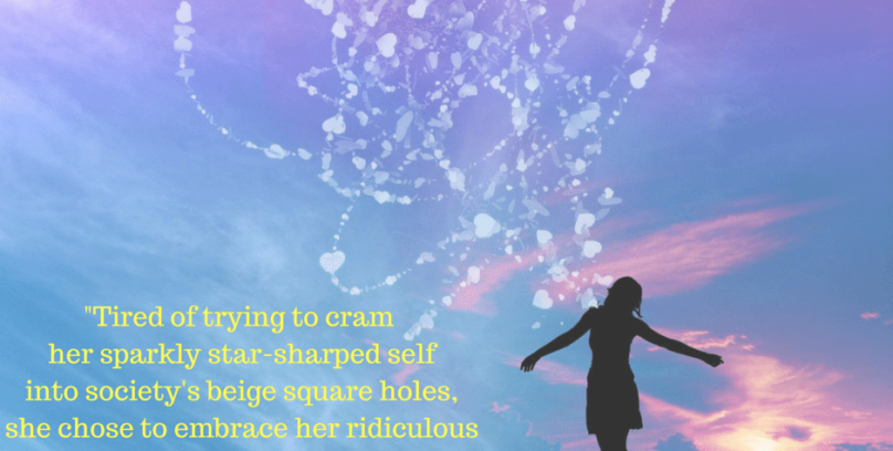 Tired of trying to cram her sparkly star-sharped self