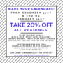20% off a psychic or animal communication reading until Jan 31st o 2107